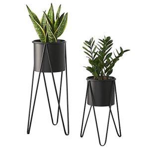[en.casa] Set de 2 Supports de Plante Cache-Pot Pot de Fleur Bac à FleursVase Métal Noir Tailles Différentes