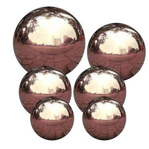 Gazing Ball, Mirror Ball, Jardin Sphère Boule Poli Miroir Boule Creuse En Acier Pour Jardin D'ornement Inoxydable Décorations 6pcs