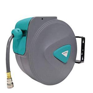 HENGMEI 30m Enrouleur de tuyau à air comprimé Dévidoir Tuyau Automatique Raccord en Cuivre 1/4″