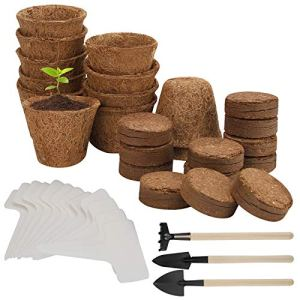 Herefun 39 Pcs Pot Jardinage en Set, Pots de Semis en Fibre Biodégradable, Kit de Culture avec Terre de Granulés de Coco, Étiquettes, Kit de Semis pour Plantes de Jardin