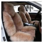 Hiver 100% Naturel Long Long Cover Cover Coussin Chaud Australien Sheepskin Auto Siège Auto Coussin Peluche Taille Universelle 1 pièce Brown (Color Name : 2pc Front Gold)