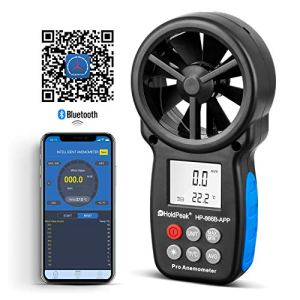 HoldPeak Anémomètre Numérique HP-866B-APP Vitesse du Vent avec Connexion Bluetooth Sans fil Pour Mesurer le Volume de l'air Vitesse du Vent Température, Navigation en vol, Tir