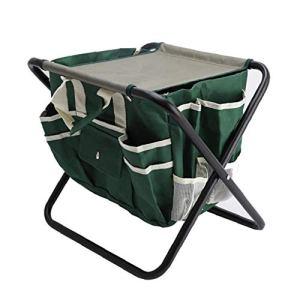 Jardin Tabouret de rangement pliable outil Tabouret Métal Textile multifonctionnel avec sac en tissu