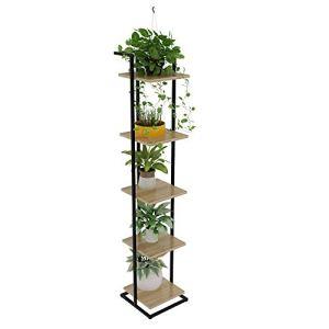 JenLn Bibliothèque à 5 tablettes Multifonction échelle en Forme Plante Jardinière Porte-Livre Rack étagères de Rangement (Color : Wood, Size : 30x30x150cm)