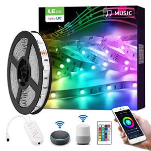 LE 5M Ruban LED Musique WiFi Smart, 16 Millions de Couleurs, 5050 RGB 150 LEDs, Bande Lumineuse Connectée WIFI, Smartphone APP Connecté en un Clic, Compatible avec Alexa et Google Home