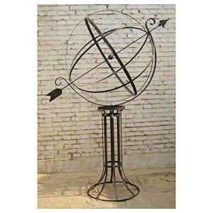 L'Héritier Du Temps Grande et Prestigieuse Sphère Armillaire sur Socle Cadran Solaire en Acier Brut Oxydé 110x160x200cm