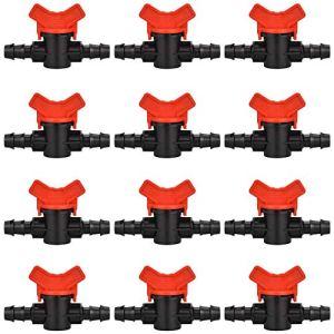 LYTIVAGEN 12 PCS Robinet de Jardin pour Tuyau, Tuyau Vanne d'irrigation 16 * 16mm Robinet d'arrêt raccord en Plastique pour Le contrôle extérieur de la vanne d'eau de Jardin (Noir + Rouge)