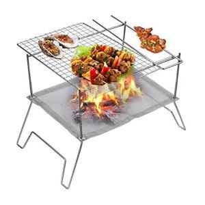 N A Camping poêle à Bois, Barbecue Portable à Charbon de Bois en Acier Inoxydable Barbecue Fumeur extérieur Barbecue pour Pique-Nique Jardin terrasse Camping Voyage