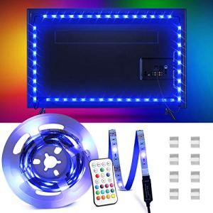 OMERIL Bande LED pour TV 2,2M, 5050 RGB Bandeau LED 16 Couleurs et 4 Modes Ruban Lumineux, Ruban LED TV Etanche avec Télécommande pour 40″-60″ HDTV/PC Moniteur, Alimenté par USB [2x50cm+2x60cm]