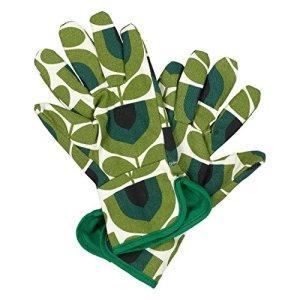 Orla Kiely | Gants de rempotage en tulipe rayés | Vert | Bordure émeraude