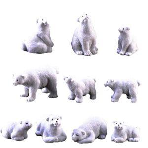 Ours polaire Moss Microlandscape de jardin en résine miniature Ours polaire Figurines 10Pcs