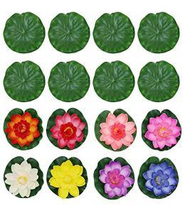 PIXHOTUL Lot de 16 fleurs de lotus artificielles flottantes pour décoration de bassin (10 cm)