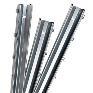 Poteaux de clôture à profilés en Z Aquagart 1,8m galvanisés / 10 pièces de poteaux de clôture en métal feuillard d'acier d'épaisseur 1,25 mm / pour gibier Clôture de prairie Clôture en grillage