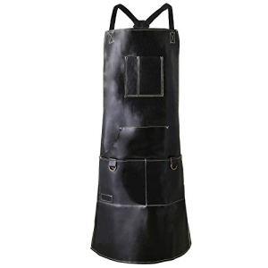 QeeLink Tablier de chef pour homme et femme en cuir imperméable avec 6 poches et sangles arrière croisées | Tablier de travail | Tablier de cuisine | Tablier de barbier |Tablier réglable M à XXL