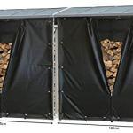 QUICK STAR 2 pièces Étagère en Aluminium pour Bois de cheminée 185 x 70 x 185 cm 4,6 m³ avec Protection Contre Les intempéries Noir