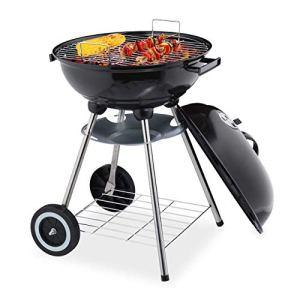 Relaxdays Barbecue en Boule, Supports et réceptacle à Cendres, Mobile, Jardin et Camping, Charbon de Bois, Noir, 40 cm