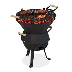 Relaxdays Barbecue tonneau, Fonte de Fer et Acier, réglable en Hauteur, Portable, Charbon, Grillage d. 37 cm, Noir