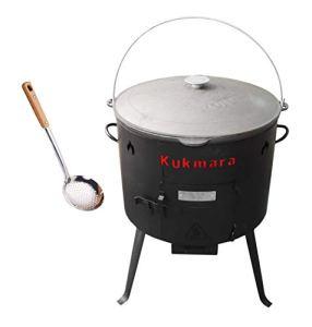 Rukauf. Set Uschak, 36 cm + 8 L Kasan Kazan en fonte pour la cuisine de camp, la chaudière à goulache et le four d'extérieur
