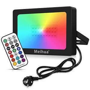 Spot led RGB 25W extérieur télecommande MEIHUA contrôle à 360 °, Projecteur interieur ambiance IP66 étanche jeux de lumiere pour soirée Anniversaire, Noël, Club, DJ, Fête de Piscine et Mariage