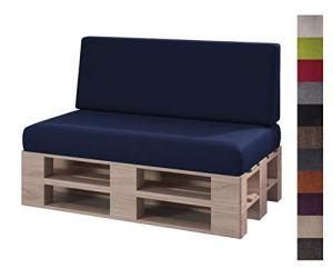 sunnypillow Set 2 Coussins pour Canapé Palette Intérieur/Extérieur Assise 120 x 80 x 15 cm + Dossier 120 x 40 x 20/10 cm plusieures Tailles et Couleurs à Choisir Siège Appui Lisse Lounge Bleu foncé