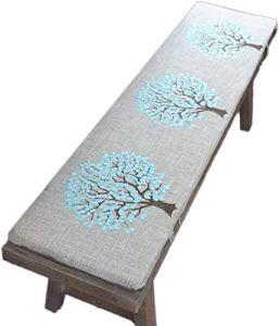 sunshinelh Coussin de banc de jardin premium 2 ou 3 places avec attache, coussin de siège antidérapant en bois, coussin de remplacement pour balancelle d'intérieur ou d'extérieur (35 x 120 cm)