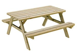 Table de pique-nique 150 cm avec bancs rabattables en bois, 6 places – Table de jardin robuste en pin