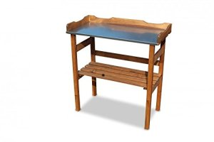 Table de rempotage en bois avec surface de travail en métal galvanisé – Marron – 80x 40x 82cm (l x p x h)