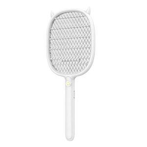 Tapettes à mouches électriques Tueur de Raquette Électrique moustique tapette rechargeable ménage multifonctionnel trois couches puissant moustique tapette-blanc