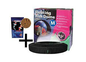 velda Floating Fish Dome M (Moyen) Demi-sphère Transparente pour Poissons + Excellent All-Round 1000 ML Aliment