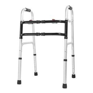 Walker Large Réglable À Double Barre Transversale, Équipement Ambulant De Remise en Forme De Cadre De Personnes Âgées D'alliage D'aluminium