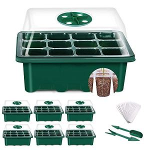 YAUNGEL Mini Serre pour Plantes, 6 Pièces 72 Cellules Intérieure Plateau Semis Bac à semis Pépinière Boîte de Culture avec Couvercle et Ventilation Durables