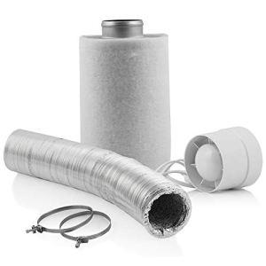 Zelsius Kit de culture Basic   Ø 100 mm   130 m³/h + filtre à charbon actif 210 m³/h + tuyau flexible en aluminium pour Growbox Homegrow Serre Tente de culture