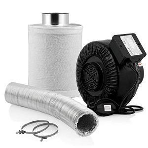 Zelsius Kit de culture Premium   Ø 100 mm   345 m³/h + filtre à charbon actif 340 m³/h + tuyau flexible en aluminium de 10 m pour Growbox Homegrow Serre Tente de culture