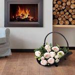 ZHHAOXINPA Sac à bois de chauffage, porte-bûches en forme de feuille, panier à bûches avec poignées pour petit bois d'intérieur ou d'extérieur