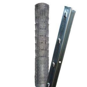 50 m Clôture à gibier Treillis à nœuds Clôture de prairie Clôture forestière 150/12/30+ poteaux de clôture modele lourdprofilés en Z
