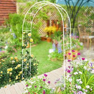 Arc Mariage Rose Archway Ornement Tonnelle Pergola, Treillis Noir Diverses Fleurs Arcade Plante Grimpante Pelouse Arrière-Cour – Arche De Jardin