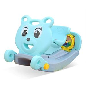 Baby Walker 4 en 1 pour Enfants, Escalade Et Cheval à Bascule, Glissière avec Anneau De Basket-Ball, Convient Aux Cadeaux De Bébé Garçon à L'intérieur Et à L'arrière – (Bleu)