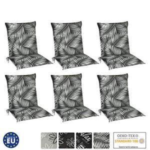 Beautissu Matelas Coussin pour Chaise Fauteuil de Jardin terrasse Tropic 100x50x6cm – Set de 6