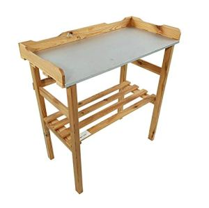 BLIZNIAKI 45500001 N Table de jardin en bois avec étagère à fleurs, 82 x 38 x 78 cm, parfaite pour le jardin, la terrasse ou le balcon, avec plateau galvanisé résistant aux intempéries Produktname