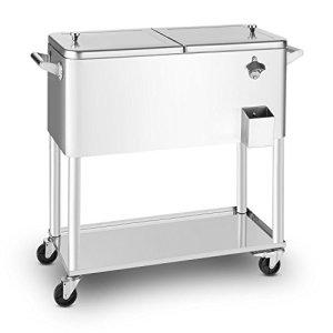 blumfeldt Springbreak – Bar Mobile, glacière frigorifique pour terrasse et Jardin, contenance de 80L (décapsuleur et Receptacle à Capsules, roulettes, vidange Facile) – INOX