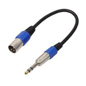 Câble XLR mâle vers Jack stéréo 6,35 mm Câble de Haut-Parleur Actif Actif TRS symétrique, Noir, 0,5 m