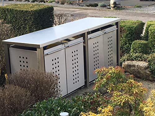 Cache-poubelle en acier inoxydable avec poteaux en acier inoxydable (4 x 240 l, design en T, toit en pente, acier inoxydable)