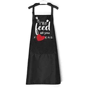 Chillake Tablier de cuisine humoristique pour homme et femme | I'll Feed All You Grill Tablier avec 3 poches et sangle de cou réglable | Meilleur cadeau pour la cuisine, barbecue, anniversaire, Noël