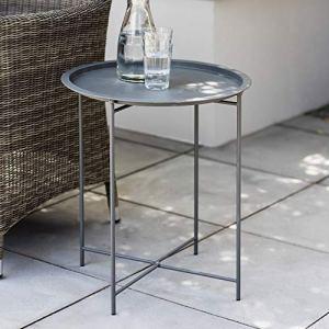 CKB LTD Table en acier avec pieds pliables et plateau amovible en acier laqué anthracite mat – Table de jardin simple (charbon de bois)