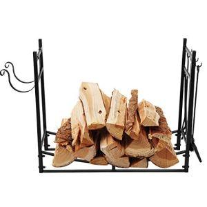 DD&Eren Organisateur extérieur de Support de Stockage de bûche de Bois de Chauffage de Structure Stable de Fer en Acier pour Le Patio d'arrière-Cour de cheminée Noir