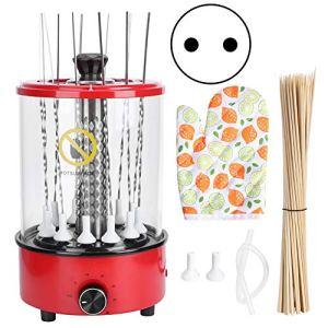 Dioche Grille électrique avec tournevis, barbecue électrique vertical de table, minuterie de 30 minutes, machine pour barbecue pour la maison, 12 brochettes (EU)