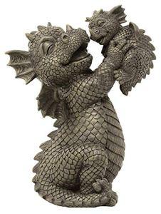 Dragon de jardin – Figurine de jardin – Mère avec bébé