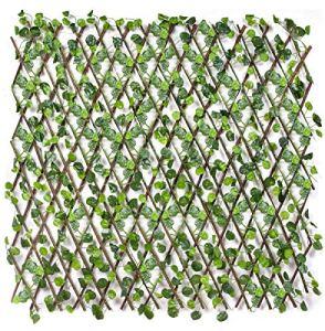 emmevi – Haie artificielle avec treillis en bois de saule naturel, extensible, modèle à feuilles de lierre, disponibles en 2tailles