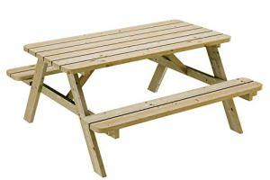 Ensemble table et banc de pique-nique en bois de pin massif de 170 cm – Banc de 35 mm – Solide et robuste