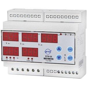 ENTES epm-06-din programmable de 3Phases dIN multimètre de Tension epm-06-carril dIN AC, Courant, fréquence, betriebsstu